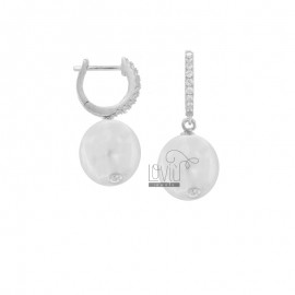 RING EARRINGS WITH PEARL AND ZIRCONIA IN RHODIUM SILVER TIT 925 ‰