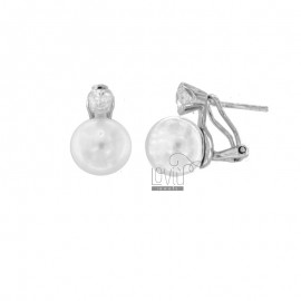 EARRINGS WITH BAROQUE PEARL AND ZIRCON IN RHODIUM SILVER TIT 925 ‰