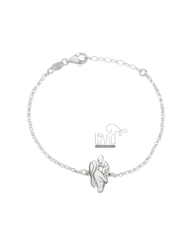 ROLO BRACELET 'WITH MOTHER AND CENTRAL CHILD IN SILVER RHODIUM TIT 925 CM 18-20