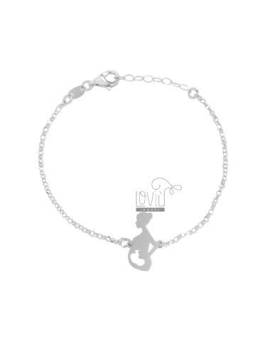ROLO BRACELET WITH CENTRAL PREGNANT WOMAN IN SILVER RHODIUM TIT 925 18-20 CM