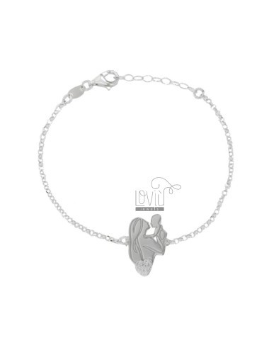 ROLO BRACELET 'WITH MOTHER AND CENTRAL CHILD IN SILVER RHODIUM TIT 925 AND GLITTER CM 18-20