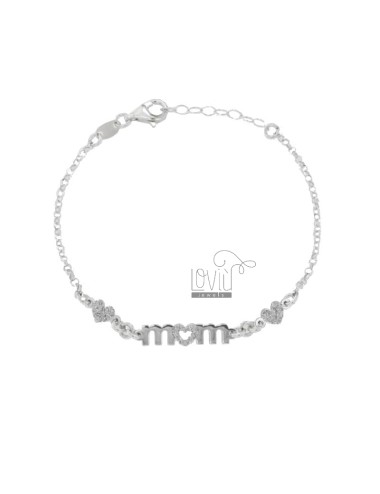 ROLO BRACELET 'WITH CENTRAL MOM IN RHODIUM SILVER TIT 925 AND GLITTER CM 18-20