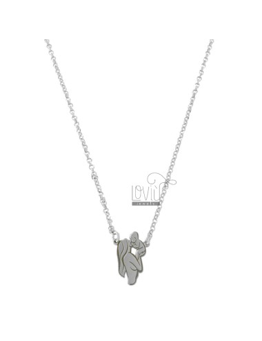 ROLO NECKLACE 'WITH MOTHER AND CENTRAL CHILD IN SILVER RHODIUM TIT 925 CM 40-45
