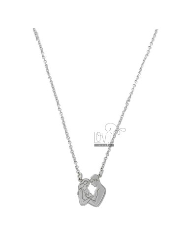 ROLO NECKLACE 'WITH MOTHER, DADDY AND CENTRAL KIDS IN SILVER RHODIUM TIT 925 CM 40-45