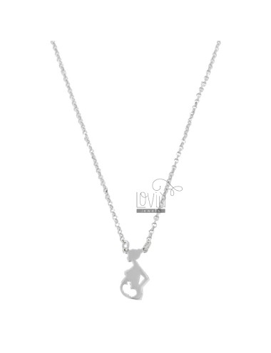 ROLO NECKLACE WITH CENTRAL PREGNANT WOMAN IN SILVER RHODIUM TIT 925 CM 40-45