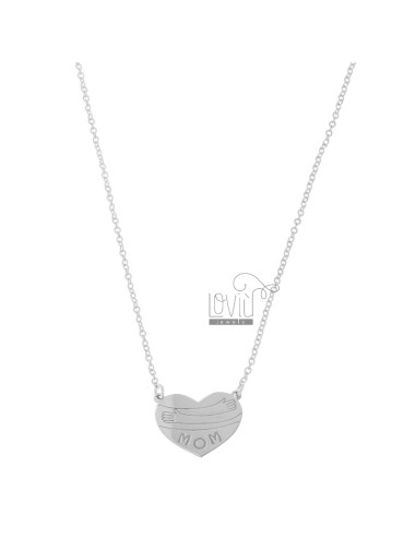 NECKLACE CABLE WITH HEART EYE CENTRAL MOM IN SILVER RHODIUM TIT 925 CM 40-45