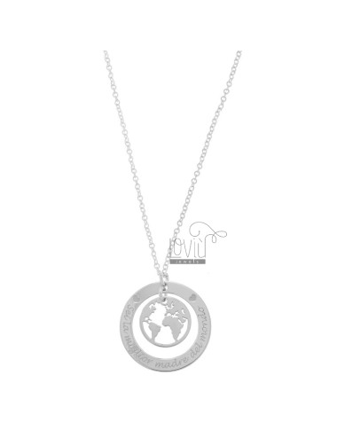 NECKLACE CABLE WITH WORLD THE BEST MOTHER OF THE WORLD IN SILVER RHODIUM TIT 925 CM 40-45