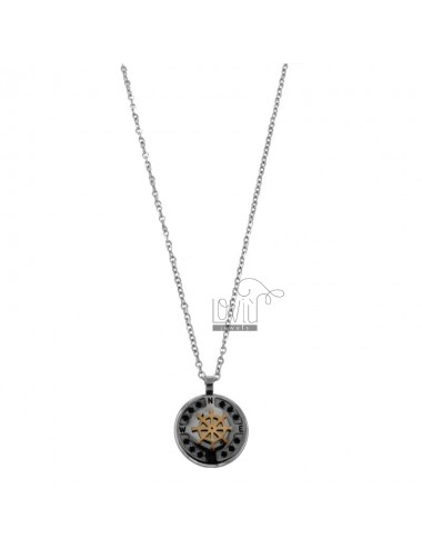 RUDDER PENDANT WITH CHAIN CABLE 50 CM IN TWO-COLORED STEEL AND BLACK ZIRCONS