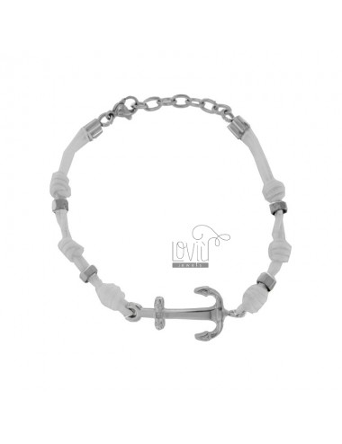 WHITE ROPE BRACELET WITH STAINLESS STEEL CM 21