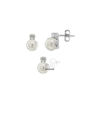 EARRINGS AND PENDANT WHITE PEARL IN RHODIUM SILVER TIT 925 ‰ AND ZIRCONIA