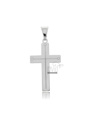 PENDANT CROSS 30X17 MM WITH LASER ENGRAVING IN SILVER RHODIUM TIT 925 ‰