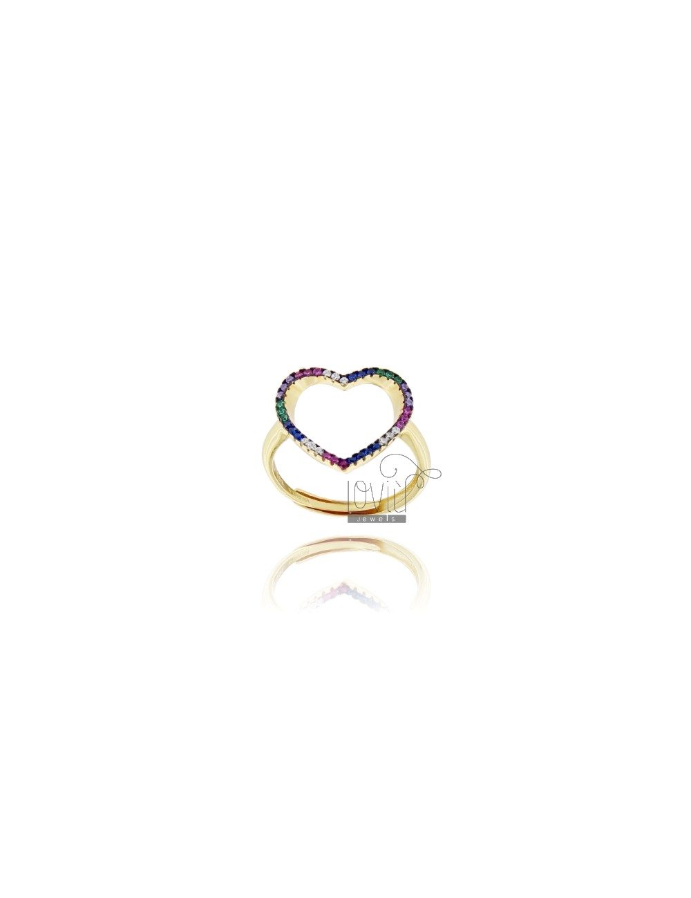 CONTOUR RING HEART IN GOLDEN SILVER TIT 925 AND RAINBOW ZIRCONIA ADJUSTABLE MEASURE