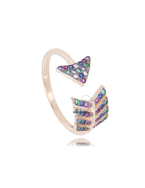 ARROW RING IN SILVER ROSE TIT 925 AND RAINBOW ZIRCONIA MEASURE 14