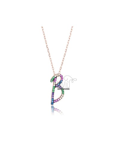 NECKLACE CABLE WITH LETTER B IN SILVER ROSE TIT 925 AND ZIRCONIA RAINBOW CM 45