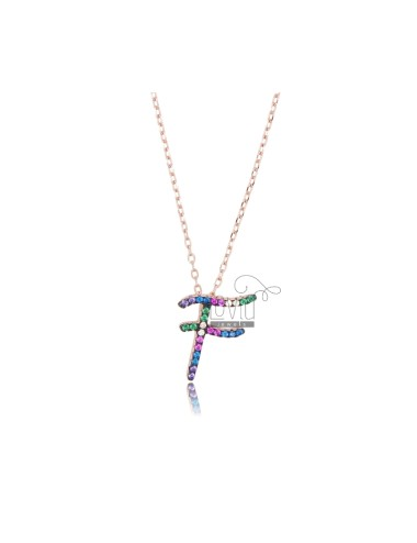 NECKLACE CABLE WITH LETTER F IN SILVER ROSE TIT 925 AND ZIRCONIA RAINBOW CM 45