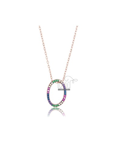 NECKLACE CABLE WITH LETTER OR SILVER ROSE TIT 925 AND ZIRCONIA RAINBOW CM 45