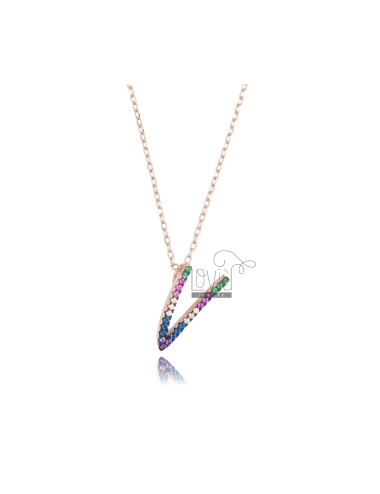 NECKLACE CABLE WITH LETTER V IN SILVER ROSE TIT 925 AND ZIRCONIA RAINBOW CM 45