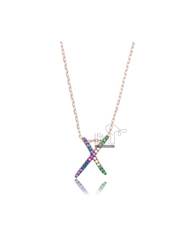 NECKLACE CABLE WITH LETTER X SILVER ROSE TIT 925 AND ZIRCONIA RAINBOW CM 45