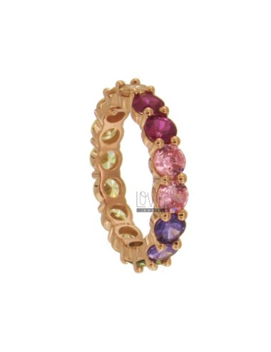 VERETTA MM 4 RING IN SILVER ROSE TIT 925 AND RAINBOW ZIRCONIA MEASURE 14
