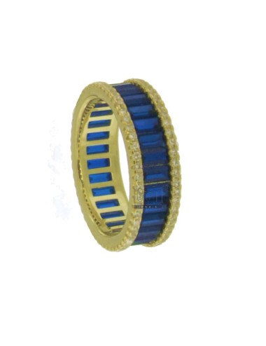 VERETTA RING BAGUETTE IN GOLDEN SILVER TIT 925 AND WHITE ZIRCONIA AND BLUE MEASURE 14