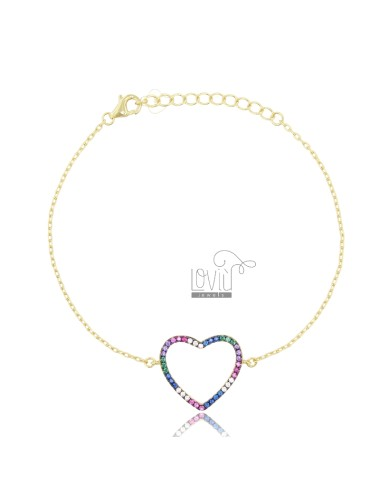BRACELET CABLE WITH CONTOUR HEART IN SILVER SILVER TIT 925 AND ZIRCONIA RAINBOW CM 18