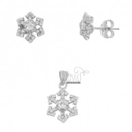 PENDANT AND EARRINGS IN LOBO SNOWFLAKE IN RHODIUM SILVER TIT 925 AND WHITE ZIRCONIA