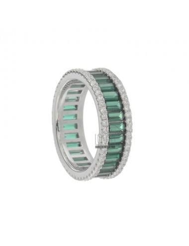 VERETTA RING BAGUETTE IN SILVER RHODIUM TIT 925 AND WHITE AND GREEN ZIRCONIA SIZE 14
