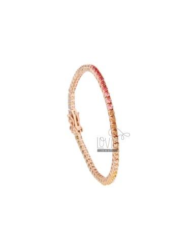 2.5 MM TENNIS BRACELET IN ROSE SILVER WITH RAINBOW ZIRCONIA CM 18