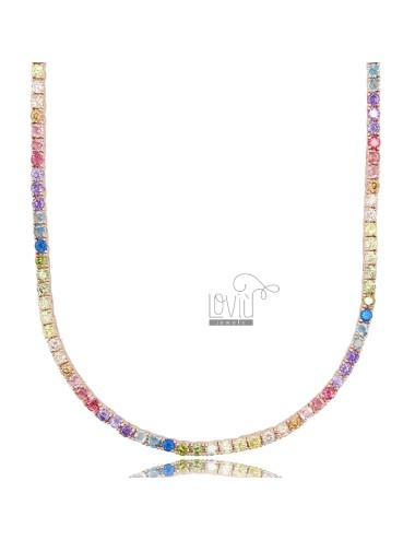 COLLANA TENNIS MM 2,5 IN ARG. ROSATO CON ZIRCONI RAINBOW CM 45