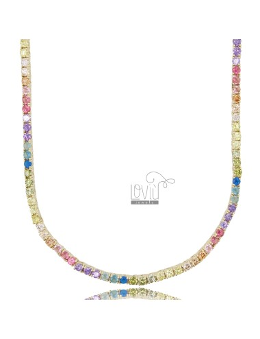 2.5 MM TENNIS NECKLACE WITH GOLDEN ZIRCONIA RAINBOW CM 45