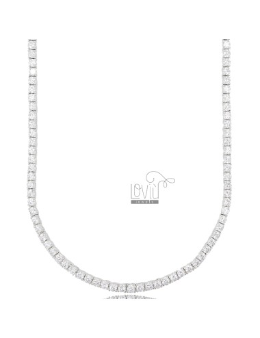2.5 MM TENNIS NECKLACE IN SILVER RHODIUM WITH WHITE ZIRCONIA CM 45