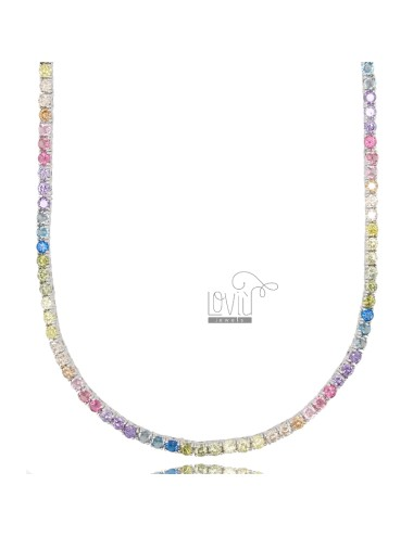 2.5 MM TENNIS NECKLACE IN SILVER RHODIUM WITH RAINBOW ZIRCONIA CM 45