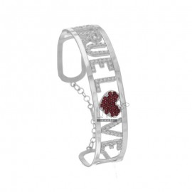 RIGID BRACELET CUSTOMIZABLE IN SILVER RHODIUM TIT 925 AND ZIRCONIA