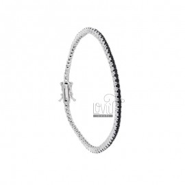 BRACCIALE TENNIS MM 2 IN ARG. RODIATO CON ZIRCONI NERI CM 21