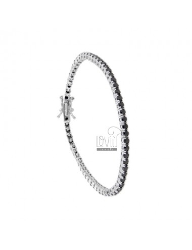 BRACCIALE TENNIS MM 2,5 IN ARG. RODIATO CON ZIRCONI NERI CM 21