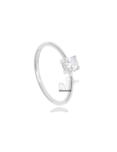 SOLITARY RING IN SILVER RHODIUM TIT 925 ‰ AND ZIRCONE MM 4 SIZE 20