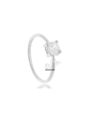 SOLITARY RING IN SILVER RHODIUM TIT 925 ‰ AND ZIRCONE MM 5 SIZE 14