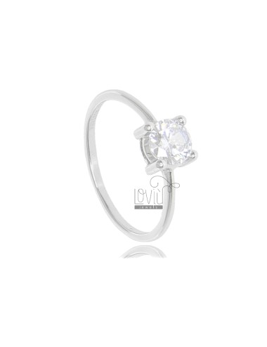SOLITARY RING IN SILVER RHODIUM TIT 925 ‰ AND ZIRCONE MM 6 SIZE 20