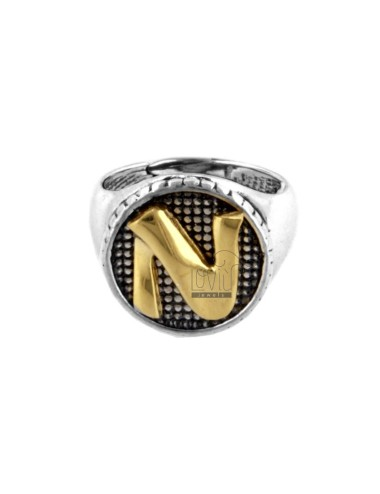 16 MM ROUND RING WITH LETTER N IN BRUNISH SILVER AND GOLD PLATED TIT 925 ‰