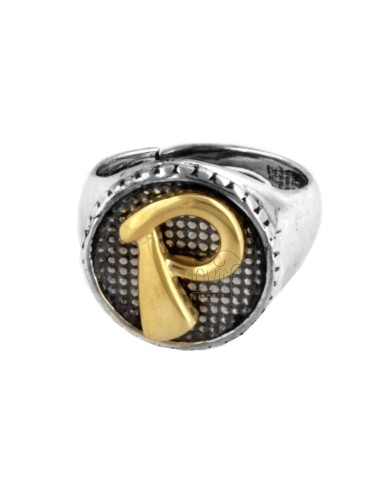 16 MM ROUND RING WITH P LETTER IN BRUNISH SILVER AND GOLD PLATED TIT 925 ‰