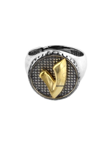 16 MM ROUND RING WITH LETTER V IN BURNED SILVER AND GOLD PLATED TIT 925 ‰