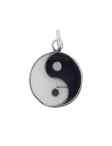 PENDANT GOOD AND EVIL 23 MM SILVER BRUNITO TIT 800 AND ENAMEL