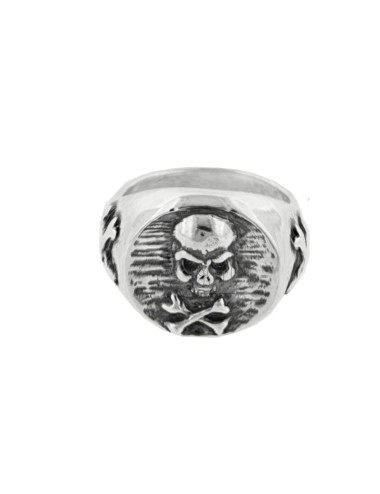 RING MIGNOLO ROUND WITH SKULL IN BRUNITO SILVER TIT 925 ‰ SIZE 10