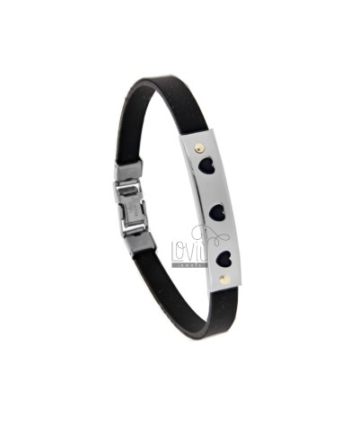 RUBBER BRACELET WITH PERFORATED PLATE WITH HEARTS IN STEEL WITH 2 BRASS POINTS
