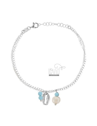 ROLO BRACELET 'WITH SHELL AND PASTA OF TURQUOISE PENDANTS IN SILVER RHODIUM TIT 925 ‰ CM 17-19