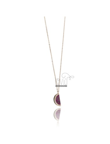 NECKLACE CABLE WITH SLICE SEEDS 19X8 MM SILVER ROSE TIT 925 AND COLORED ZIRCONS 42-45 CM