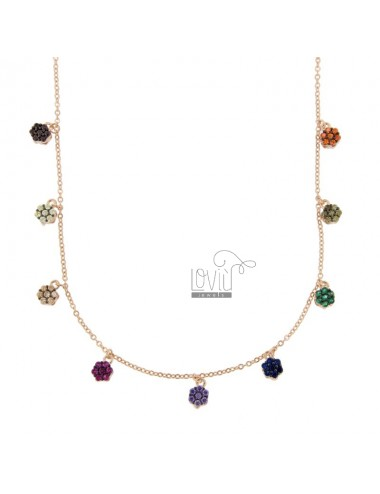 NECKLACE CABLE WITH FIORELLINI PENDING SILVER ROSE TIT 925 AND ZIRCONIA COLORED 42-45 CM