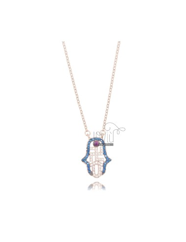 NECKLACE CABLE WITH FATIMA HAND 17X12 MM SILVER ROSE TIT 925 AND ZIRCONIA COLORED 42-45 CM
