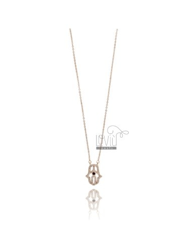 NECKLACE CABLE WITH FATIMA HAND 17X12 MM SILVER ROSE TIT 925 AND ZIRCONIA WHITE AND BLUE 42-45 CM