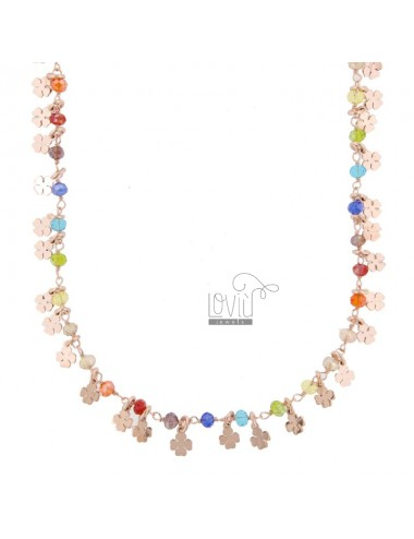 NECKLACE WITH QUADRIFOGLI AND STONES IN SILVER ROSE TIT 925 ‰ CM 40-45